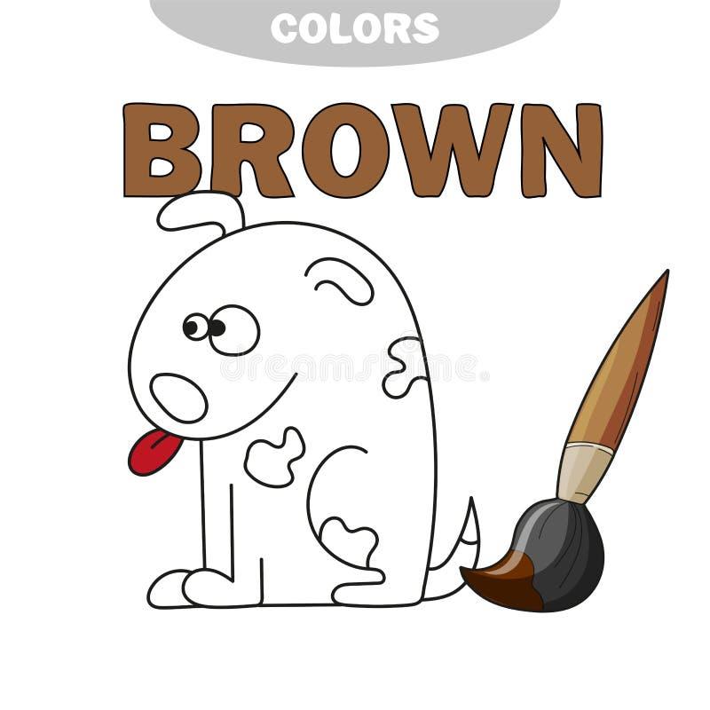 Απεικόνιση του σκυλιού κινούμενων σχεδίων - χρωματίζοντας βιβλίο διανυσματική απεικόνιση