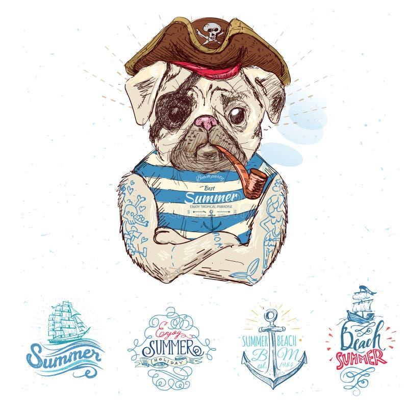 Απεικόνιση του σκυλιού μαλαγμένου πηλού πειρατών ελεύθερη απεικόνιση δικαιώματος