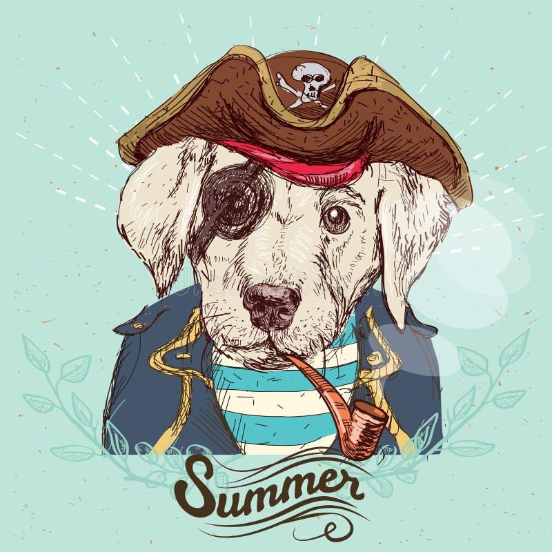 Απεικόνιση του σκυλιού πειρατών στο μπλε υπόβαθρο στο διάνυσμα απεικόνιση αποθεμάτων