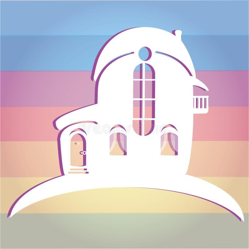 Απεικόνιση του σπιτιού στο υπόβαθρο χρώματος Μπορέστε να χρησιμοποιηθείτε ως σπίτι εικονιδίων ελεύθερη απεικόνιση δικαιώματος