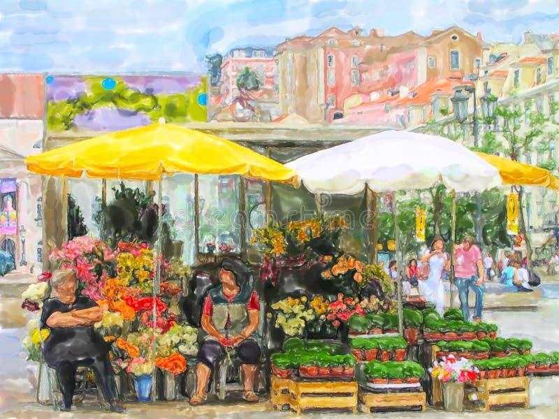 Απεικόνιση του στάβλου αγοράς λουλουδιών στα ονόματα θέσεων της Λισσα διανυσματική απεικόνιση