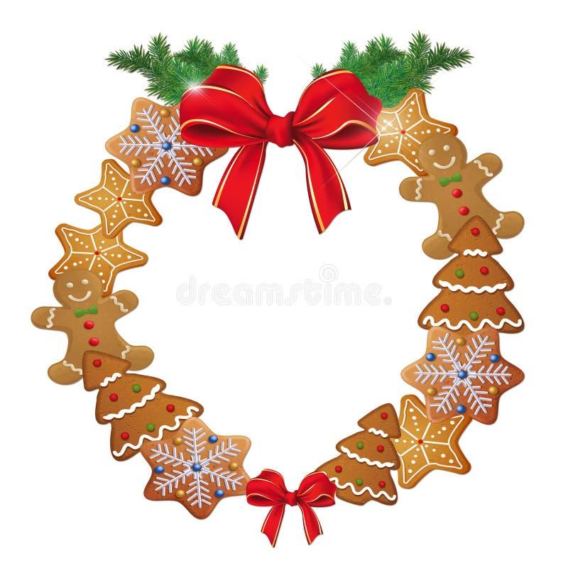 Απεικόνιση του στεφανιού Χριστουγέννων με τα μπισκότα απεικόνιση αποθεμάτων