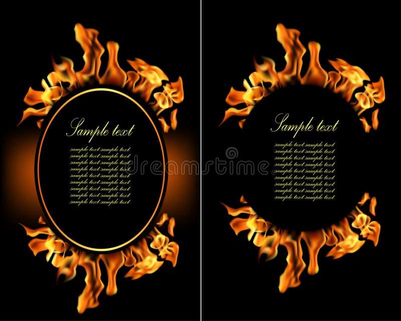 Απεικόνιση του συνόλου εμβλήματος φλογών πυρκαγιάς. ελεύθερη απεικόνιση δικαιώματος