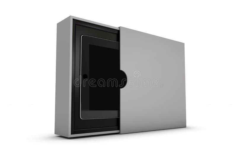 απεικόνιση του σύγχρονου μαύρου PC ταμπλετών στο κιβώτιο δώρων που απομονώνεται στο λευκό διανυσματική απεικόνιση