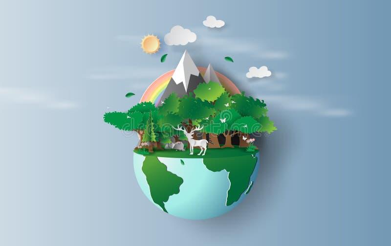 Απεικόνιση του ταράνδου στο πράσινες παγκόσμιο περιβάλλον σχεδίου Origami δέντρων δασικές, δημιουργικές και την ιδέα έννοιας γήιν ελεύθερη απεικόνιση δικαιώματος