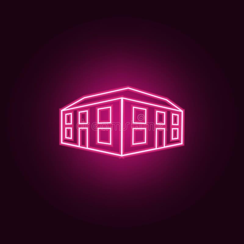 απεικόνιση του τρισδιάστατου εικονιδίου κτιρίου γραφείων Στοιχεία του τρισδιάστατου κτηρίου στα εικονίδια ύφους νέου Απλό εικονίδ διανυσματική απεικόνιση