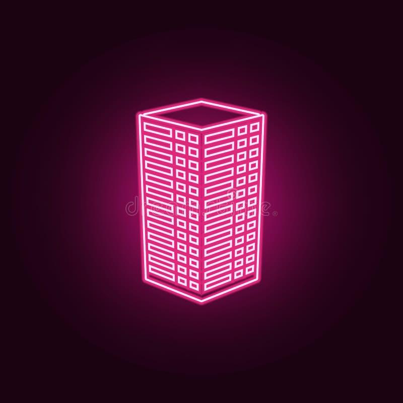 απεικόνιση του τρισδιάστατου εικονιδίου οικοδόμησης Στοιχεία του τρισδιάστατου κτηρίου στα εικονίδια ύφους νέου Απλό εικονίδιο γι διανυσματική απεικόνιση