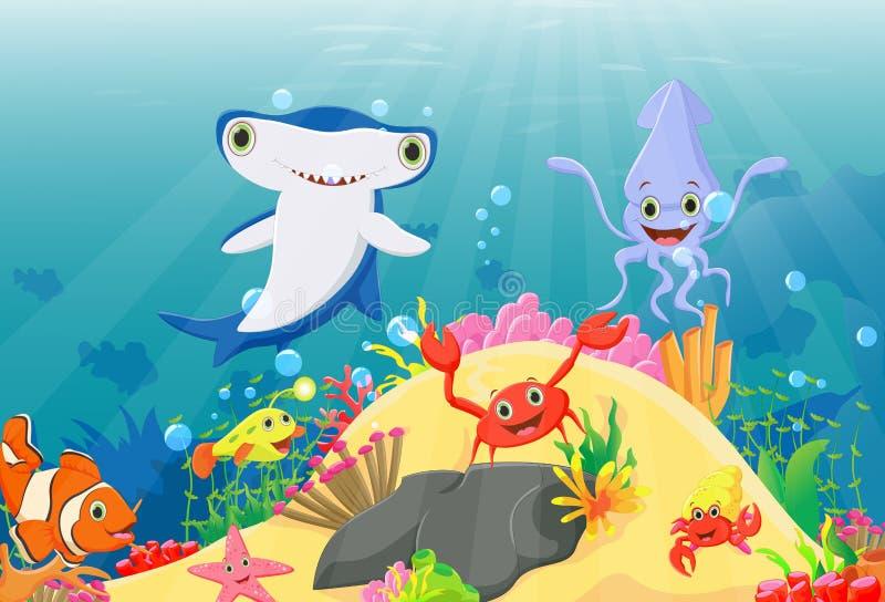 Απεικόνιση του υποβρύχιου κόσμου με τους σκοπέλους και τα τροπικά ψάρια διανυσματική απεικόνιση