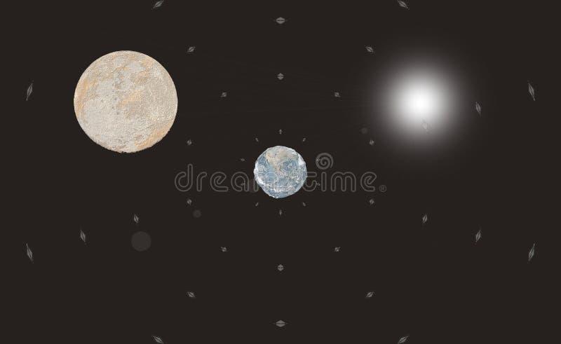 Απεικόνιση του φεγγαριού, της γης και του ήλιου στο Μαύρο ελεύθερη απεικόνιση δικαιώματος