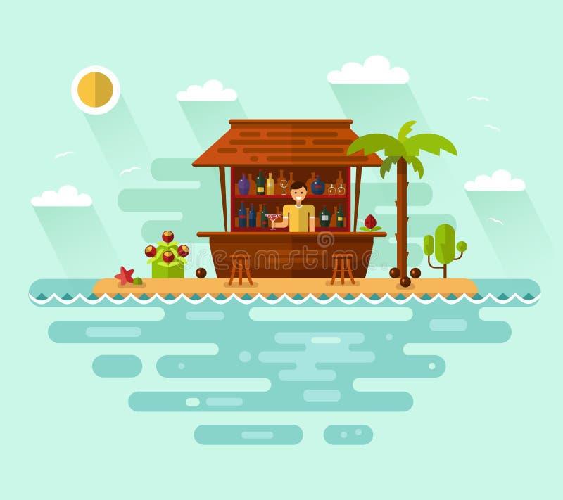 Απεικόνιση του φραγμού κοκτέιλ με τον μπάρμαν στην τροπική παραλία απεικόνιση αποθεμάτων