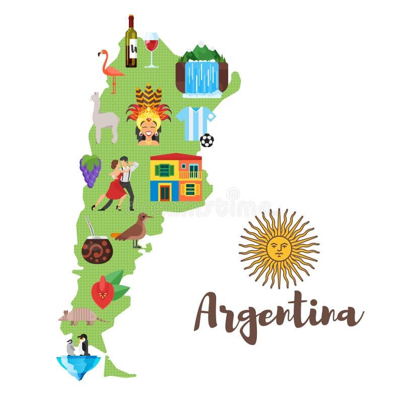 Απεικόνιση του χάρτη της Αργεντινής με τα αργεντινά εθνικά πολιτιστικά σύμβολα ελεύθερη απεικόνιση δικαιώματος