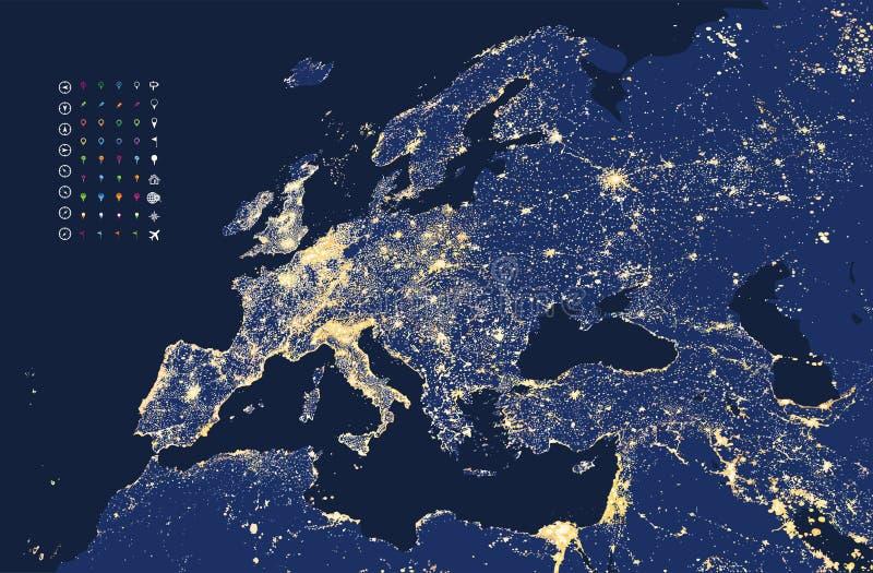 Απεικόνιση του χάρτη φω'των πόλεων και επικοινωνίας της Ευρώπης απεικόνιση αποθεμάτων