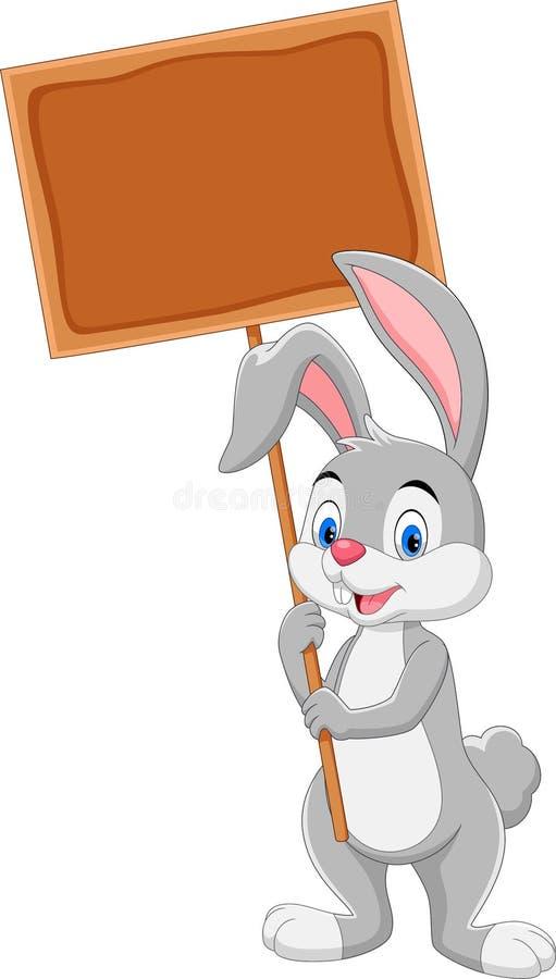 Απεικόνιση του χαριτωμένου λαγουδάκι που κρατά τον ξύλινο πίνακα ελεύθερη απεικόνιση δικαιώματος