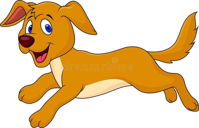 Χαριτωμένο τρέξιμο κινούμενων σχεδίων σκυλιών απεικόνιση αποθεμάτων