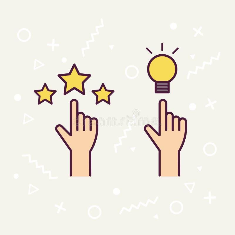 Απεικόνιση του χεριού με τις λαμπρές ιδέες Σημάδι, σύμβολο, εικονίδιο, λύση, έννοια σκέψης, hipster διανυσματικό ύφος διανυσματική απεικόνιση