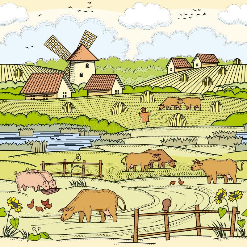 Απεικόνιση του χωριού περιοχής ελεύθερη απεικόνιση δικαιώματος