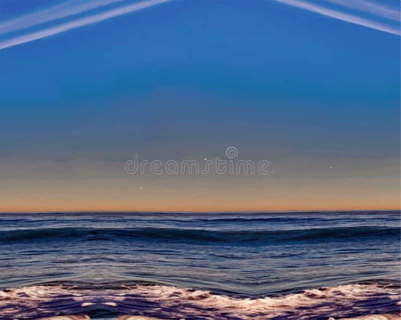Απεικόνιση του ωκεάνιου κύματος στο ηλιοβασίλεμα, τα ασυνήθιστα σύννεφα και τα κύματα ελεύθερη απεικόνιση δικαιώματος