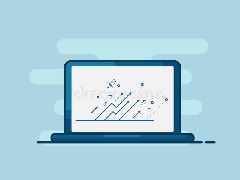 Απεικόνιση του lap-top με επιχείρηση σχεδίου αύξησης βελών την επάνω επίπεδη ελεύθερη απεικόνιση δικαιώματος