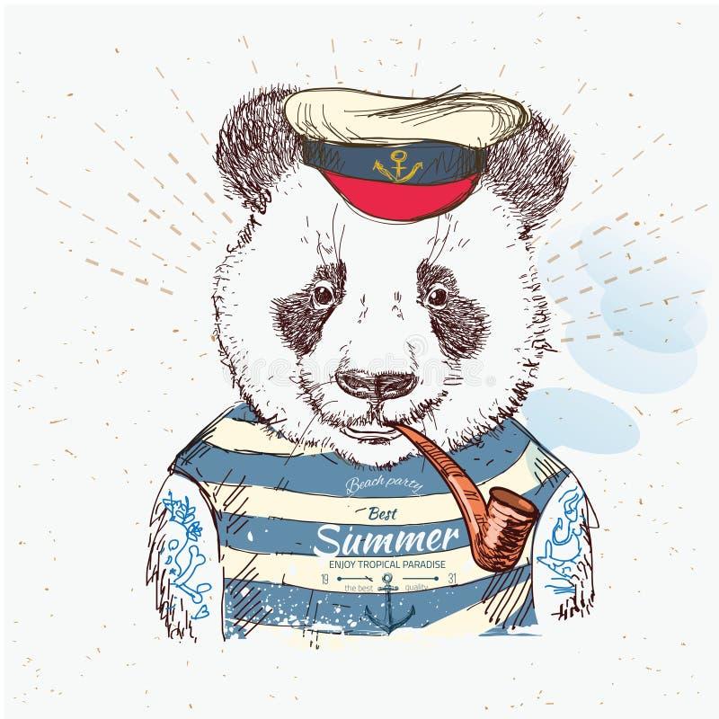 Απεικόνιση του panda πειρατών στο μπλε υπόβαθρο στο διάνυσμα απεικόνιση αποθεμάτων