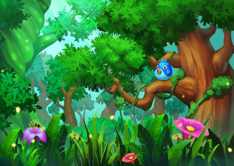 Απεικόνιση: Το δάσος παλαιός-αύξησης με τα πράσινα δέντρα, τις χλόες και τα λουλούδια, και το πουλί απεικόνιση αποθεμάτων