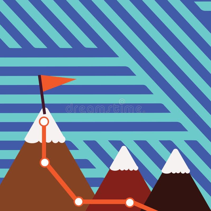 Απεικόνιση τριών ζωηρόχρωμων βουνών με το ίχνος και της άσπρης χιονώδους κορυφής με τη σημαία σε μια αιχμή ανασκόπηση δημιουργική απεικόνιση αποθεμάτων