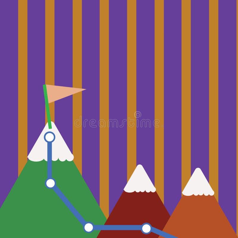 Απεικόνιση τριών ζωηρόχρωμων βουνών με το ίχνος και της άσπρης χιονώδους κορυφής με τη σημαία σε μια αιχμή ανασκόπηση δημιουργική ελεύθερη απεικόνιση δικαιώματος