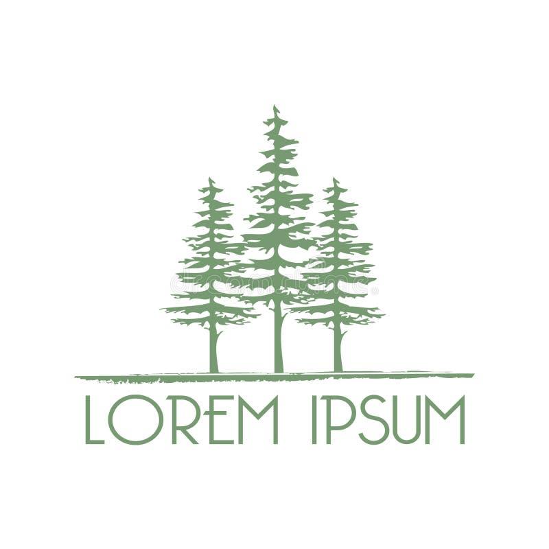 Απεικόνιση τριών πράσινων αειθαλών δέντρων ελεύθερη απεικόνιση δικαιώματος
