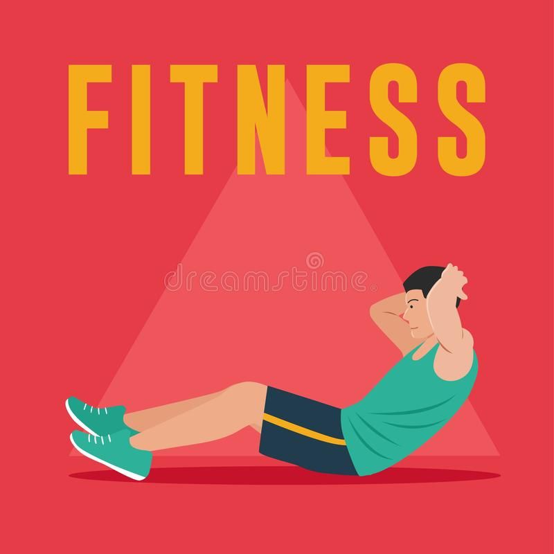 Άτομο ικανότητας που κάνει τις κοιλιακές ασκήσεις διανυσματική απεικόνιση