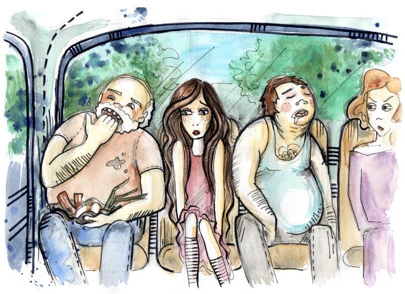 Απεικόνιση των ανθρώπων που κάθονται μέσα στο παλαιό λεωφορείο διανυσματική απεικόνιση