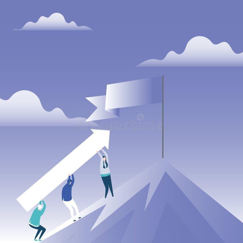 Απεικόνιση των ανθρώπων που φέρνουν το βέλος που ανεβαίνει το βουνό με διπλωμένο το κενό έμβλημα στη στάση Πολωνού στην αιχμή διανυσματική απεικόνιση