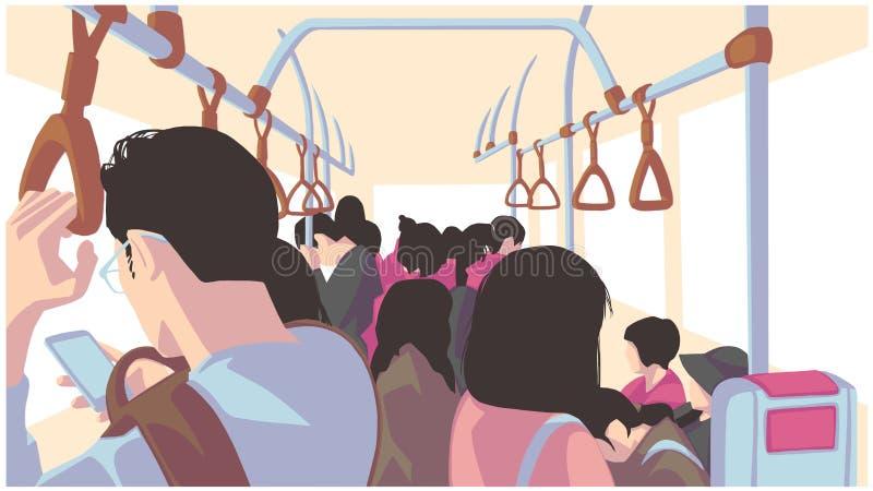Απεικόνιση των ανθρώπων που χρησιμοποιούν τις δημόσιες συγκοινωνίες, λεωφορείο, τραίνο, μετρό, υπόγειος διανυσματική απεικόνιση