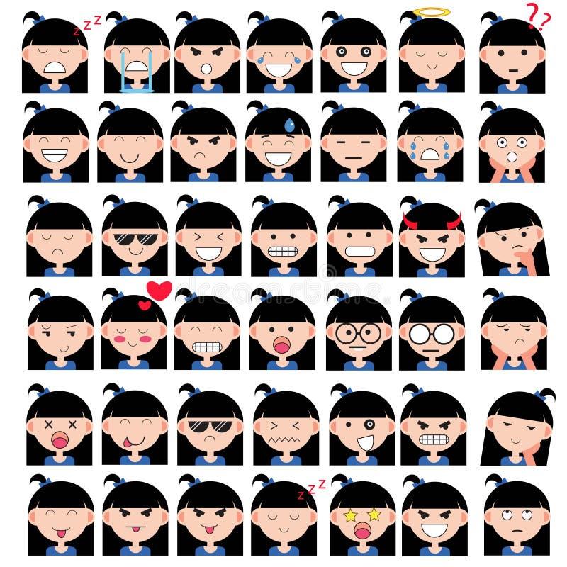 Απεικόνιση των ασιατικών χαριτωμένων προσώπων κοριτσιών που παρουσιάζουν διαφορετικές συγκινήσεις Η χαρά, θλίψη, θυμός, ομιλία, α διανυσματική απεικόνιση
