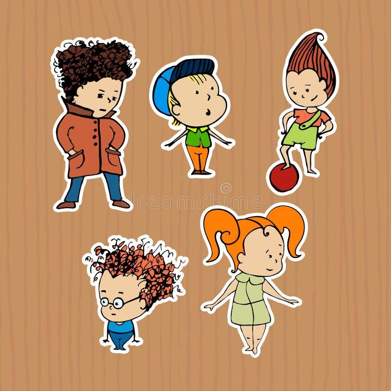 Απεικόνιση των αυτοκόλλητων ετικεττών παιδιών μιας ομάδας απεικόνιση αποθεμάτων