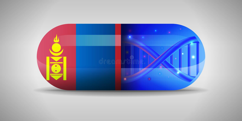 Απεικόνιση των εθνικών φαρμακευτικών ειδών της Μογγολίας Παραγωγή φαρμάκων στη Μογγολία Εθνική σημαία της Μογγολίας στην κάψα με διανυσματική απεικόνιση