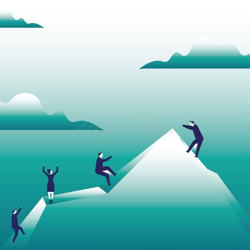 Απεικόνιση των επιχειρηματιών που αναρριχούνται στο βουνό από μόνοι τους Gesturing σαν εκμετάλλευση στο φανταστικό σχοινί δημιουρ διανυσματική απεικόνιση