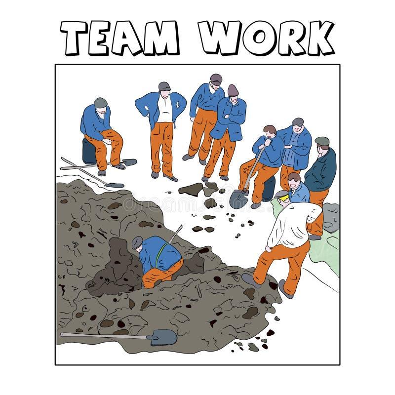 Απεικόνιση των εργαζομένων που παρουσιάζουν εργασία ομάδων απεικόνιση αποθεμάτων