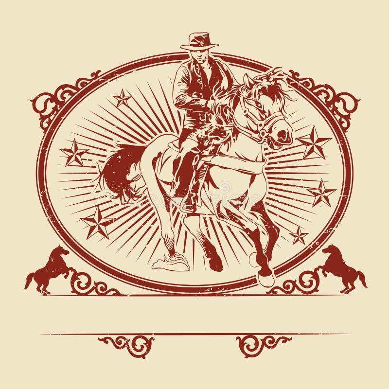 Απεικόνιση των κάουμποϋ που οδηγούν το άλογο ελεύθερη απεικόνιση δικαιώματος