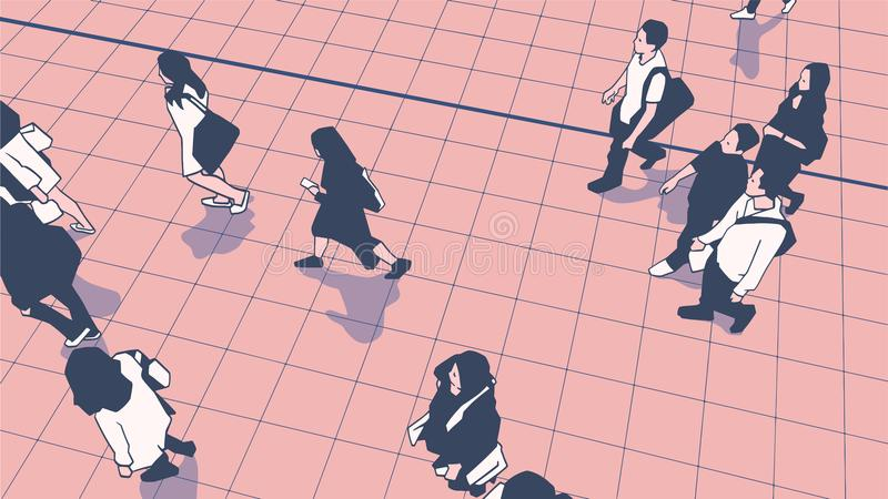Απεικόνιση των κατόχων διαρκούς εισιτήριου ανθρώπων που περπατούν στην αστική πλατφόρμα σταθμών δημόσιων συγκοινωνιών απεικόνιση αποθεμάτων