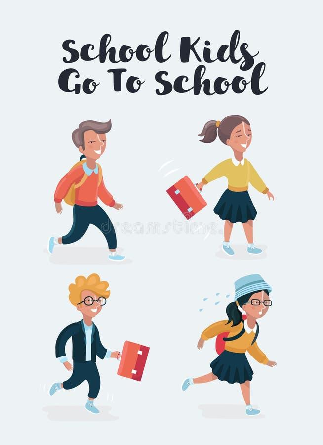Απεικόνιση των κινούμενων σχεδίων παιδιών σχολείου διανυσματική απεικόνιση