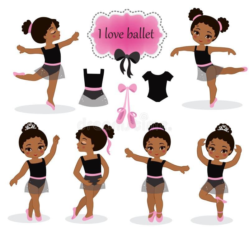 Απεικόνιση των μικρών ballerinas και άλλων σχετικών στοιχείων ελεύθερη απεικόνιση δικαιώματος