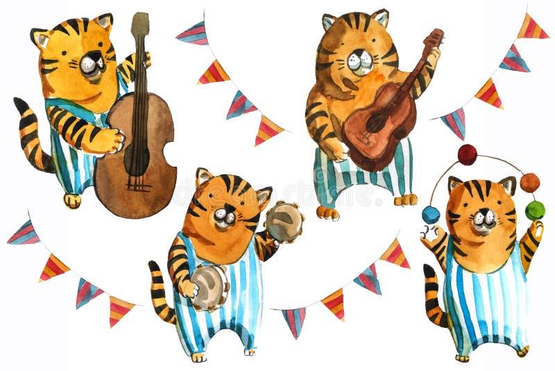 Απεικόνιση των παιδιών Watrcolor της χαριτωμένης τίγρης τσίρκων που απομονώνεται στο άσπρο υπόβαθρο απεικόνιση αποθεμάτων