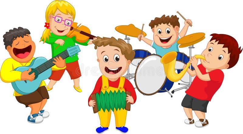 Απεικόνιση των παιδιών που παίζουν το όργανο μουσικής στοκ εικόνες