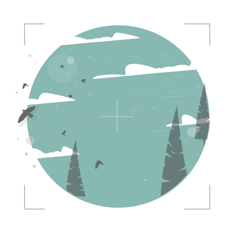 Απεικόνιση των πουλιών στο δάσος ελεύθερη απεικόνιση δικαιώματος