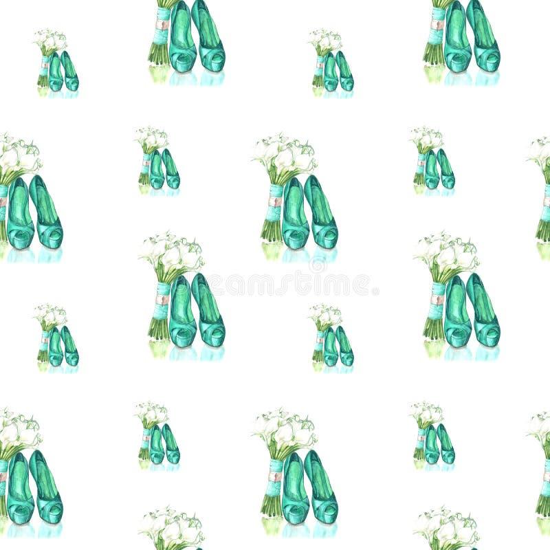 Απεικόνιση των πράσινων παπουτσιών σχεδίων watercolor και των λουλουδιών ανθοδεσμών στοκ φωτογραφία με δικαίωμα ελεύθερης χρήσης