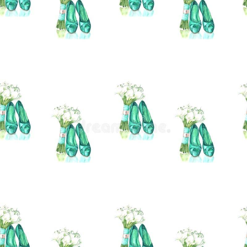 Απεικόνιση των πράσινων παπουτσιών σχεδίων watercolor και των λουλουδιών ανθοδεσμών στοκ φωτογραφίες με δικαίωμα ελεύθερης χρήσης