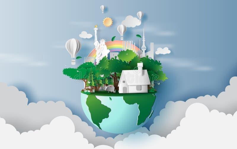 Απεικόνιση των σπιτιών στο πράσινες δασικές, δημιουργικές παγκόσμιο περιβάλλον σχεδίου και την ιδέα έννοιας γήινης ημέρας ζωή πόλ ελεύθερη απεικόνιση δικαιώματος