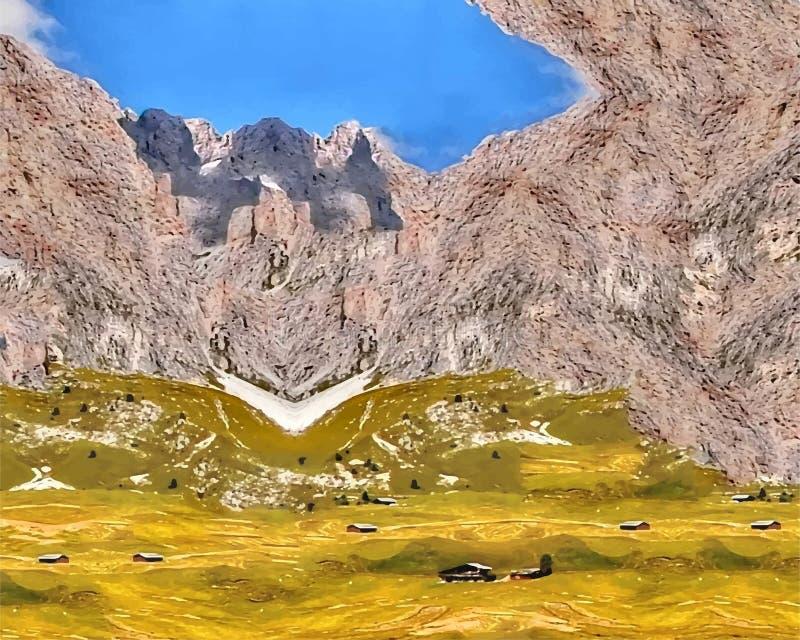 Απεικόνιση των υψηλών βουνών, άσπρο χιόνι, χλόη, μπλε ουρανός Αφαίρεση της φυσικής φύσης στοκ φωτογραφία