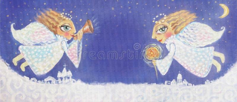 Απεικόνιση των χαριτωμένων αγγέλων λίγων Χριστουγέννων με το sparkler και τη σάλπιγγα Χρωματισμένη χέρι εικόνα Χριστουγέννων απεικόνιση αποθεμάτων