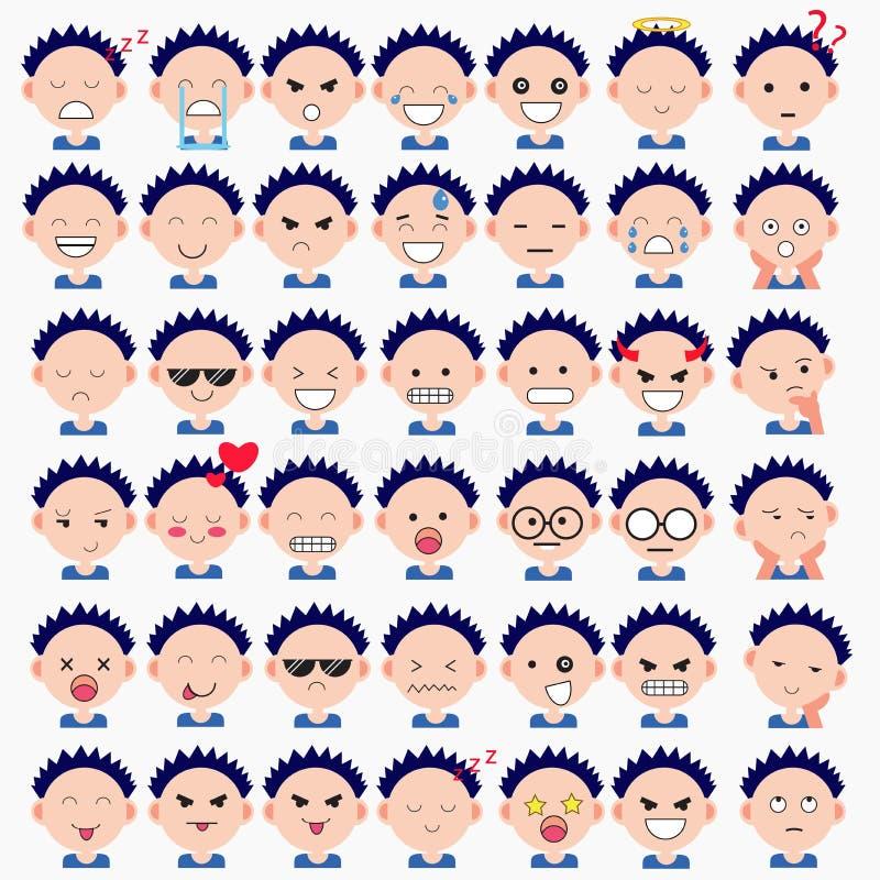 Απεικόνιση των χαριτωμένων προσώπων αγοριών που παρουσιάζουν διαφορετικές συγκινήσεις Η χαρά, θλίψη, θυμός, ομιλία, αστεία, φοβάτ στοκ φωτογραφία με δικαίωμα ελεύθερης χρήσης