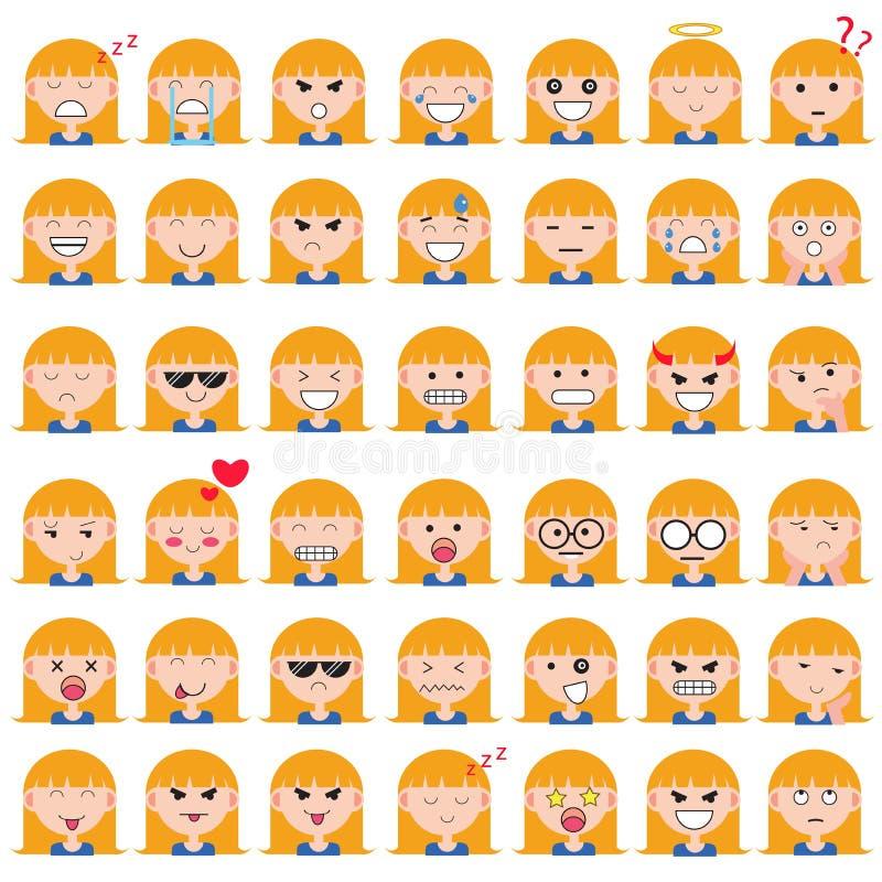 Απεικόνιση των χαριτωμένων προσώπων κοριτσιών που παρουσιάζουν διαφορετικές συγκινήσεις Η χαρά, θλίψη, θυμός, ομιλία, αστεία, φοβ στοκ φωτογραφίες